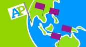 Illustration of globe with AP flags - AP Around the World