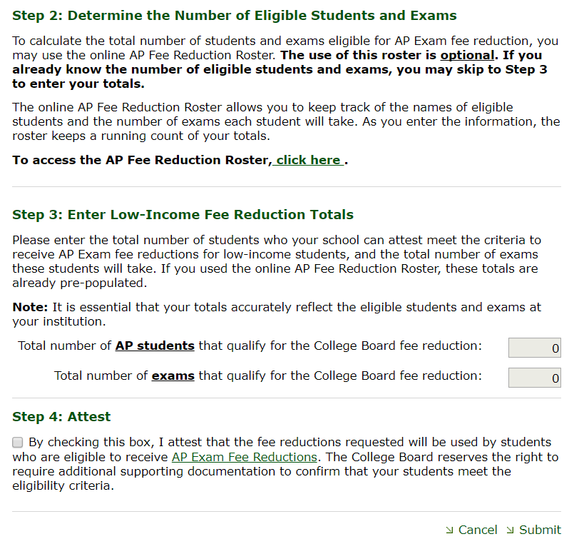 Fee reduction step 2 screenshot