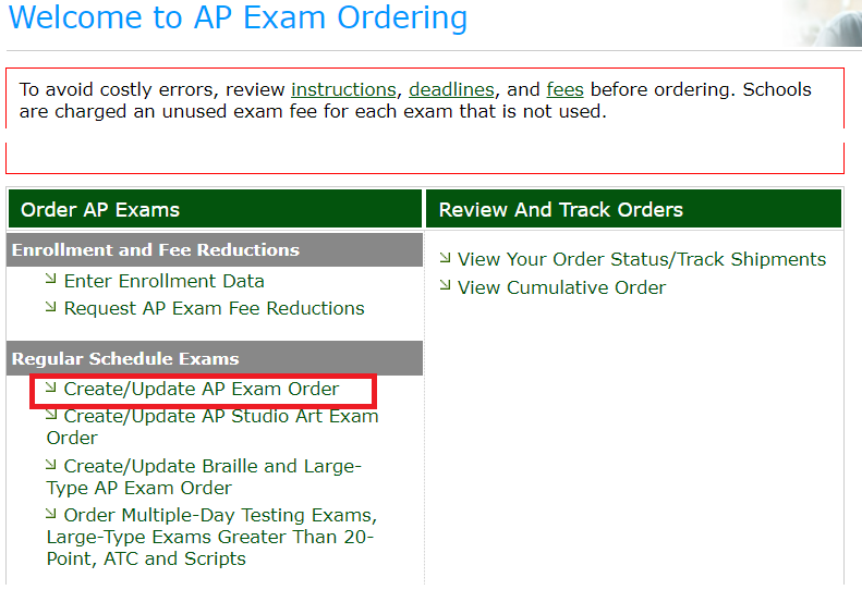 Order exams screenshot