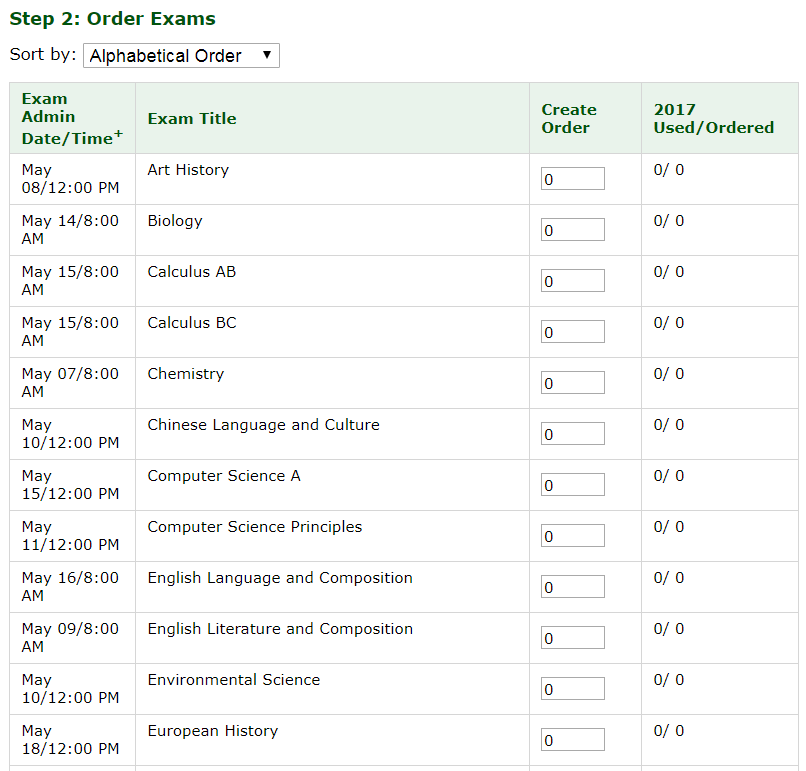 Order exams step 2 screenshot