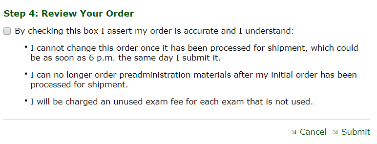 Order exams step 4 screenshot