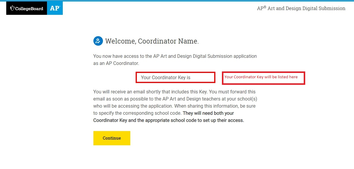 Setting up access screen with coordinator key