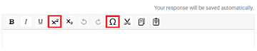 Special character toolbar on digital exam with icons.