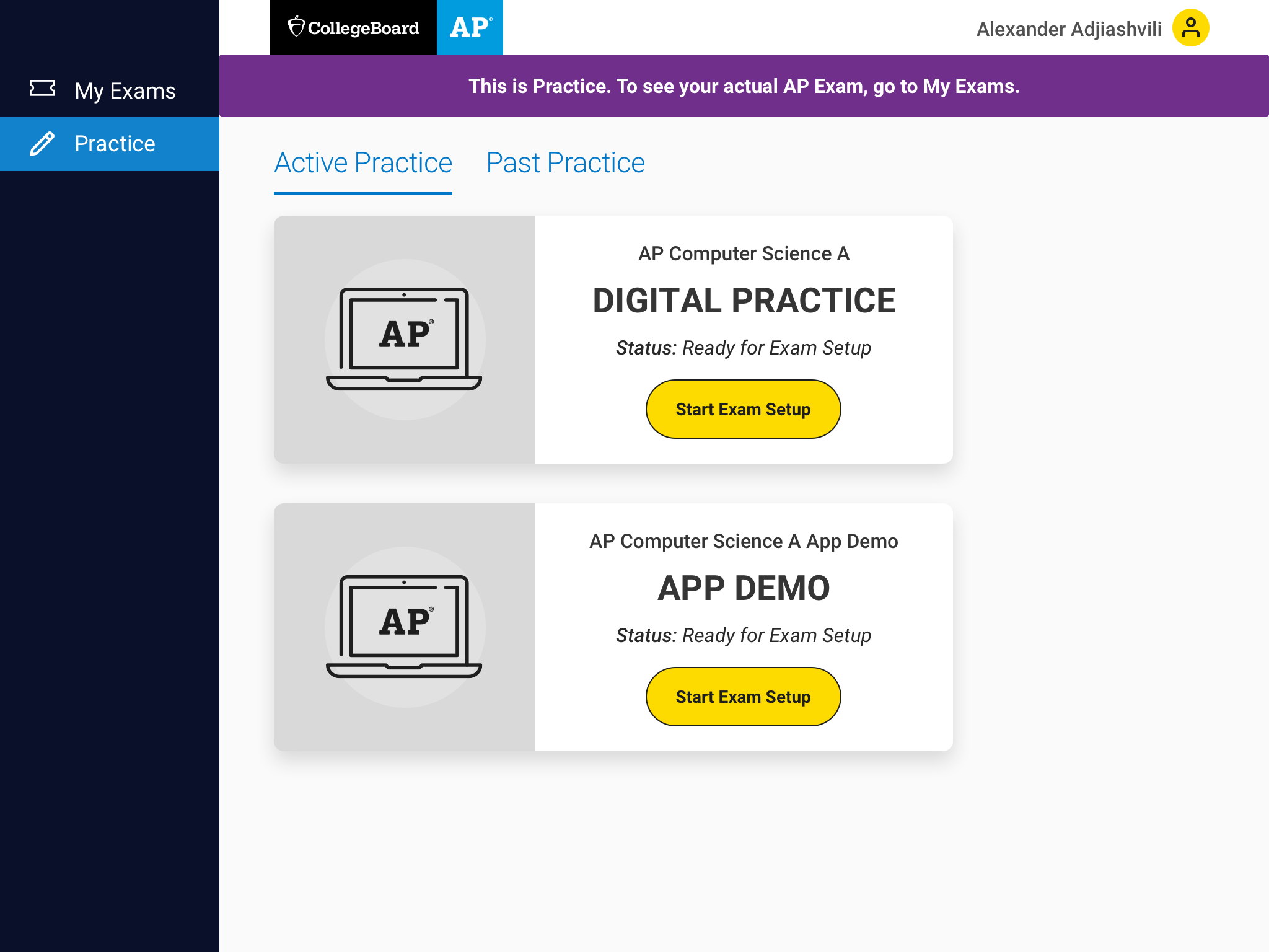 Students will have two options to practice for each exam: an app demo that has fewer questions, and a digital practice that has more questions.
