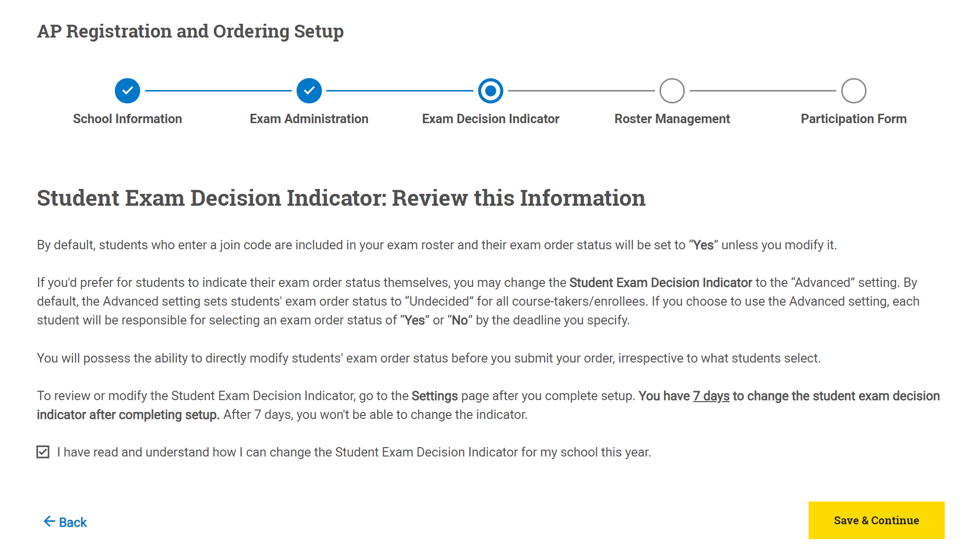 Setup Exam Decision Indicator
