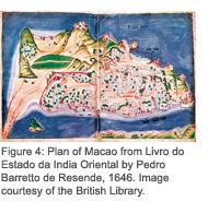 Figure 4: Plan of Macao from Livro do Estado da India Oriental by Pedro Barretto de Resende, 1646. Image courtesy of the British Library