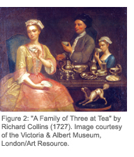 Figure 2: 'A Family of Three at Tea' by Richhard Collins (1727). Image courtesy of the Victoria & Albert Museum, London/Art Resource.