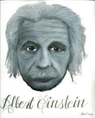 Original pastel portrait of Einstein by Sophia Cisnero, a student at Greenhill School