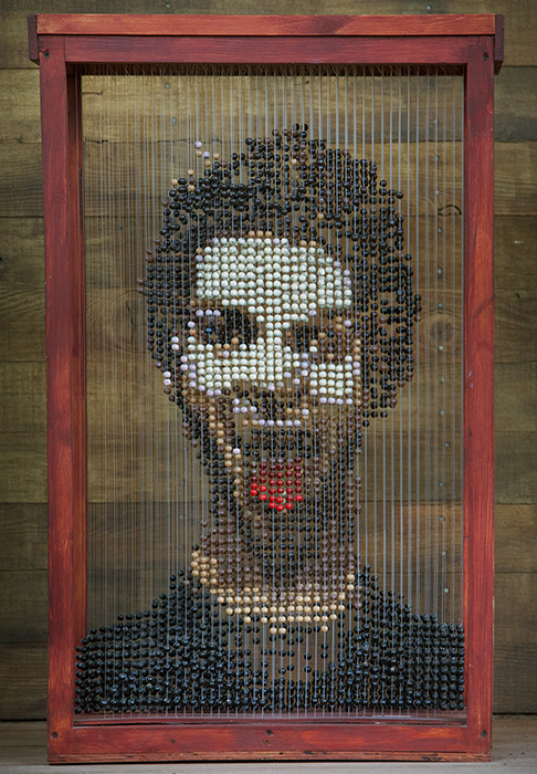 Matthew Fry, EL DIAMANTE HIGH SCHOOL, Visalia, CA — Wooden beads, acrylic paint ,fishing line, metal hooks, stain