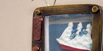 Sally Shroyer, Clear Creek High School, League City, TX — Found objects, nickel, brass, copper,fibers, plexiglas
