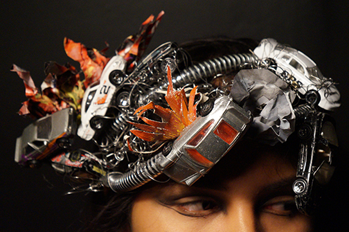 Adriana Aguilar, Buena Park High School, CA — Metal Pipe, Toy Cars, Paper, Paint, Wire, Canvas