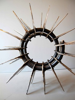 Joseph Asbel, Saint George's Schoool, RI —  Reclaimed shock absorber, Steel sheet metal