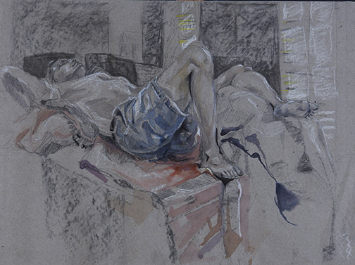 Courtney Root, Alex W Dreyfoos School of the Arts, FL — Mixed media (vine charcoal, watercolor, colored pencil, ebony pencil, white charcoal, and chalk pastel)
