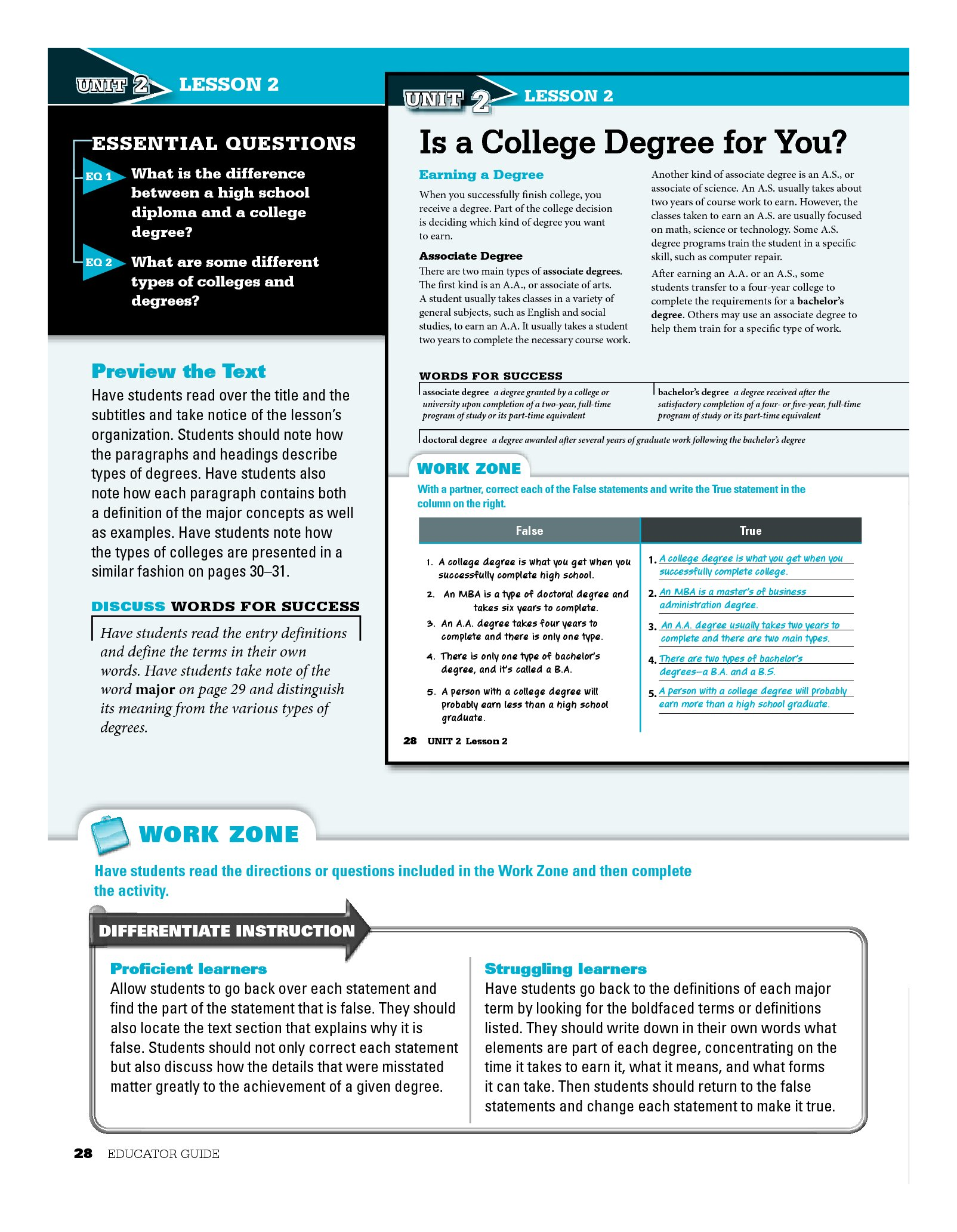 College Ed Middle School Educator Guide