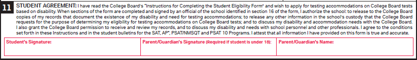 image of Student Agreement, Section 11 of Student Eligibility Form