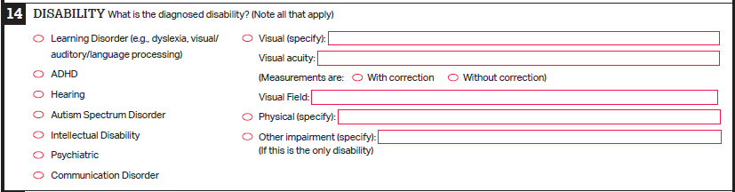 image of Disability, Section 14 of Student Eligibility Form