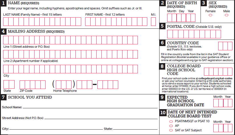 image of Student Identifying Information, Sections 1-10 of Student Eligibility Form